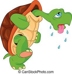 tartaruga, cute, verde, caricatura