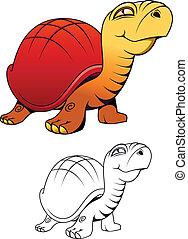 tartaruga, divertente, cartone animato