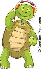 tartaruga, divertente, music., ascolto