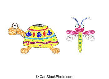 tartaruga, engraçado, vetorial