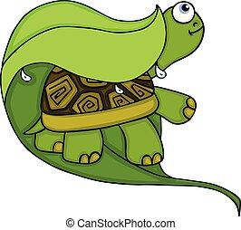 tartaruga, folha, chuva, verde, sob, escondendo