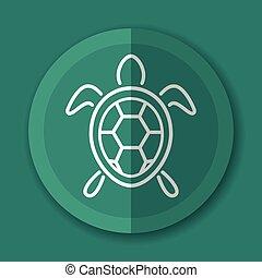 tartaruga, icona, appartamento, disegno, concetto