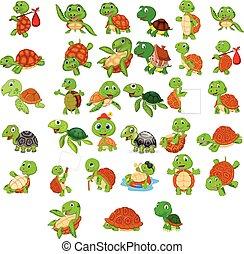 tartaruga, jogo, caricatura, cobrança