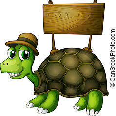tartaruga, legno, cartello, indietro