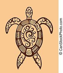 tartaruga, ornato, etnico