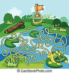 tartaruga, oro, labirinto, -, gioco, chiave, bambini