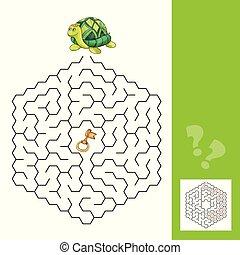 tartaruga, oro, labirinto, -, gioco, chiave, risposta, bambini