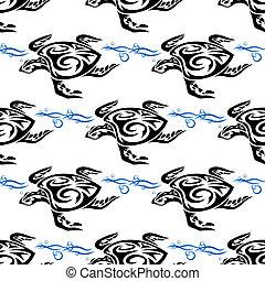 tartaruga, padrão, seamless, mar, natação