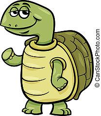 tartaruga, personagem, caricatura, ilustração
