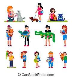 tartaruga, set, persone fondo, abbracciare, coccodrillo, ragazza, bambini, coccolare, isolato, animale, bianco, cucciolo, donna, illustrazione, caratteri, uomo, ragazzo, cane, gatto, persona, vettore, gioco, o