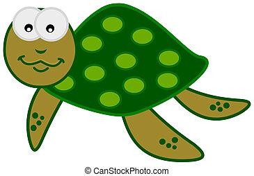 tartaruga, sorridente, verde, mare