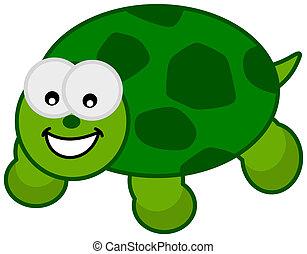 tartaruga, sorridente, verde