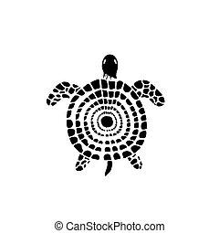 tartaruga, stylized, doodle, água, mar, reptile., style.