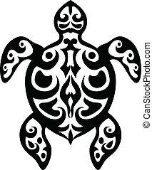 tartaruga, tatuagem, tribal