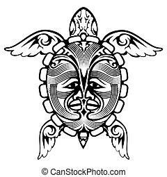 tartaruga, tatuaggio, tribale, totem, animale