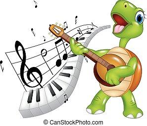 tartaruga, teclado, piano, cantando, caricatura, feliz