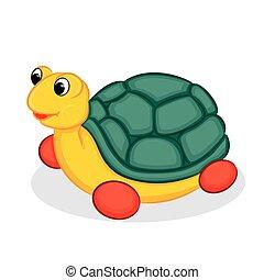 tartaruga, toy., vettore, illustrazione