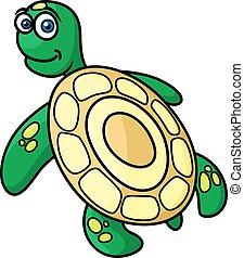 tartaruga, verde, personagem, caricatura, mar