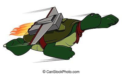 tartaruga, voando, caricatura, ilustração