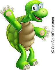 tartaruga, waving, tartaruga, ou, caricatura