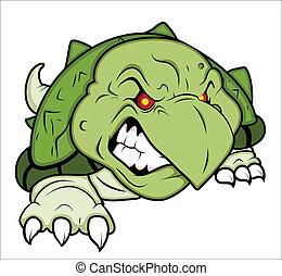 tartaruga, zangado, mascote