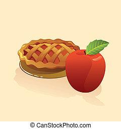 tarte aux pommes, à, a, entier, morceau pomme, vecteur