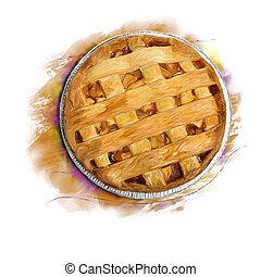 Clip art et illustrations de tarte aux pommes 2 256 - Dessin tarte aux pommes ...