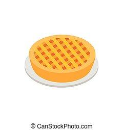 tarte aux pommes, isométrique, 3d, icône