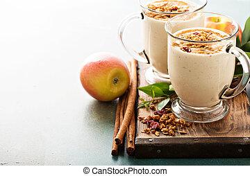 tarte aux pommes, smoothie, à, cannelle