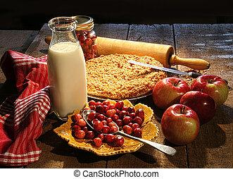 tarte, canneberge, pomme, fres, cuit