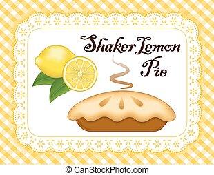 tarte, citron, dentelle, endroit, napperon, natte