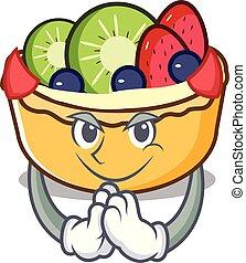 tarte, diable, dessin animé, fruit, mascotte
