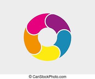 tarte, diagramme, coloré, infographic., vecteur, illustration., diagramme