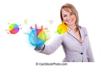 tarte, femme affaires, bouton, diagramme, main, urgent