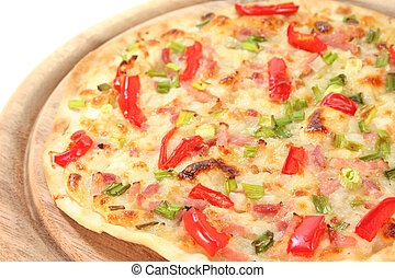 tarte flambee with bacon, green onions and red pepper
