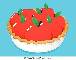 tarte, fruit, dessin animé, pomme