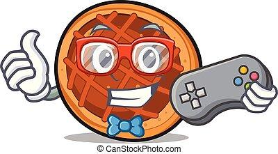 tarte, gamer, baket, dessin animé, mascotte