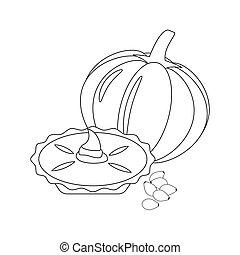 tarte, illustration, citrouille