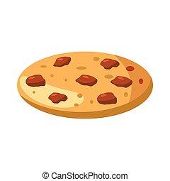 tarte, ou, pizza, icône, dessin animé, style