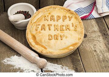 """tarte viande, à, les, mots, """"happy, père, day"""", dessus"""