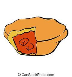 tarte viande, icône, dessin animé
