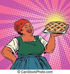 tarte, vieux, femme, retro, baie, african-american