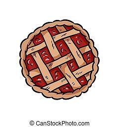 tarte, vue, savoureux, griffonnage, vecteur, sommet, boulangerie, pie., baie, glyph, main, média, dessiné, icône