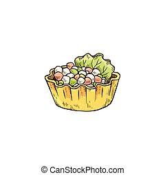 tartlet, bocado, pequeño, bosquejo, vector, ilustración, ...