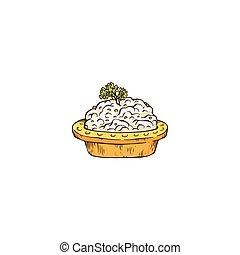tartlet, pequeño, bosquejo, vector, aperitivo, ilustración, ...