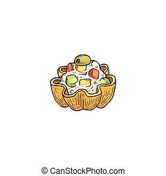 tartlet, tarta, bocado, pequeño, bosquejo, ensalada, vector...