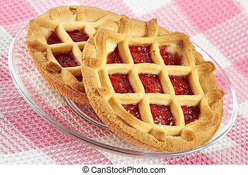 Tartlet with cherry jam-sweet entertainment to tea