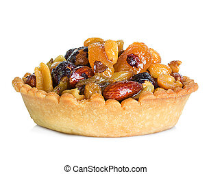 tartlet with dried fruit, cake isolated on white background