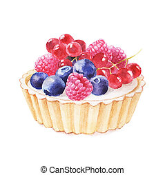 Tartlet with fruit hand drawn watercolor illustration on ...