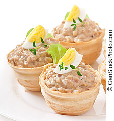 tartlets with fish paste and egg